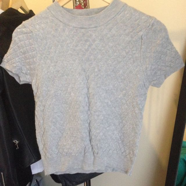 Dotti Mock neck Grey Crop Top
