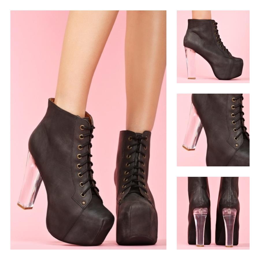 Jeffery Campbell Lita Clear Lucite Heel (BLACK)