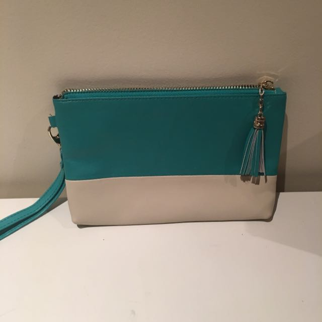 Leather Clutch Aqua & Cream