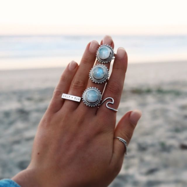 Moonstone + Wave Ring