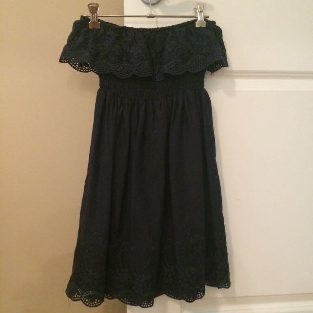 Navy Blue Strapless Dress