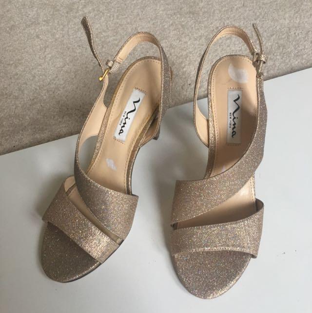 Nina Gold With Blue Spec Heels