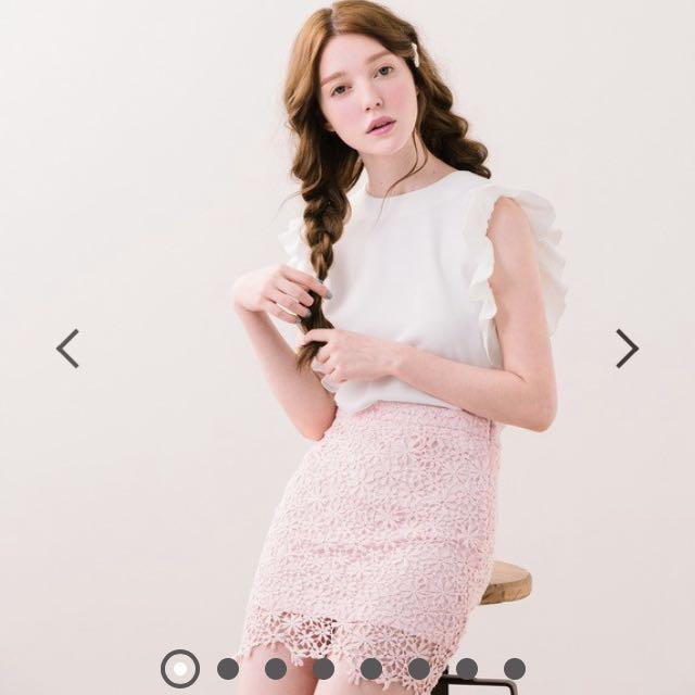 PAZZO 甜妞小花邊短裙(S號)