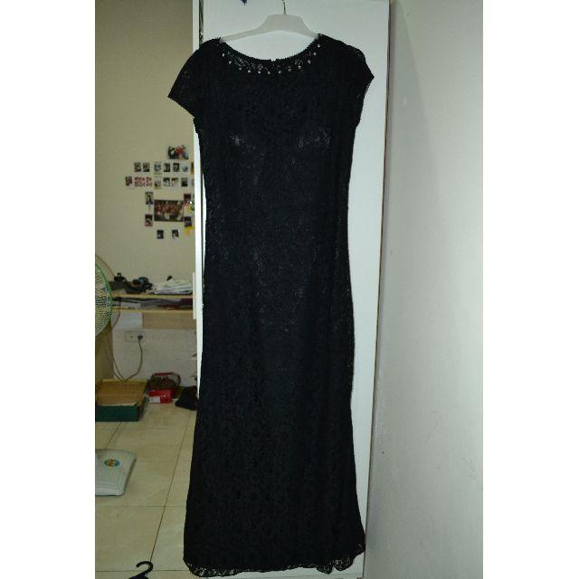 PROM Black Long Mermaid lace dress