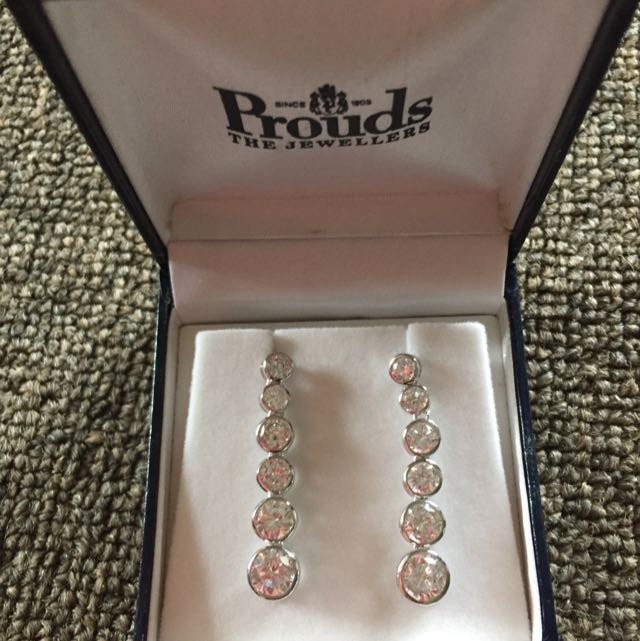 Prouds Round Drop Silver Earrings.