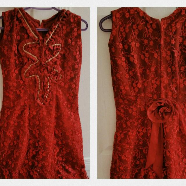 Red Lace Dress - Size Small