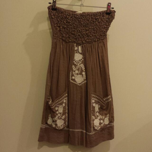 Strapless Angel Biba Brown Summer Dress