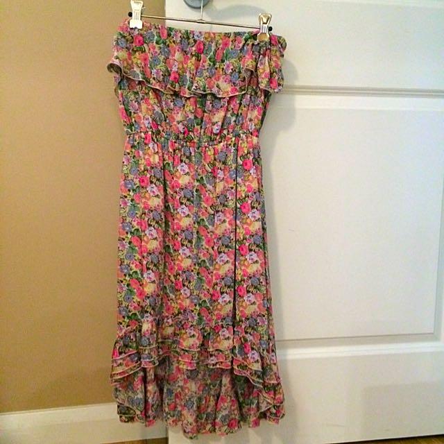 Strapless Floral Dress With An Uneven Hem