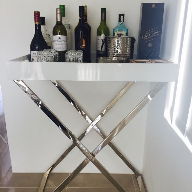 WEST ELM TALL BUTLER TRAY & STAND