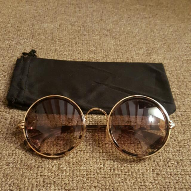 Wide Round Boho Sunglasses - Circle/Brown