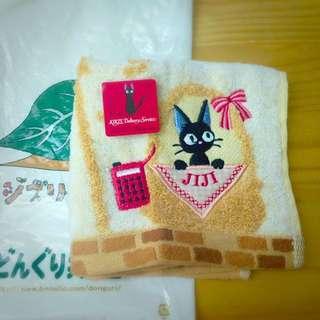 宮崎駿魔女宅急便黑貓JIJI方巾 (全新/吊牌未剪/日本帶回/附小袋子)