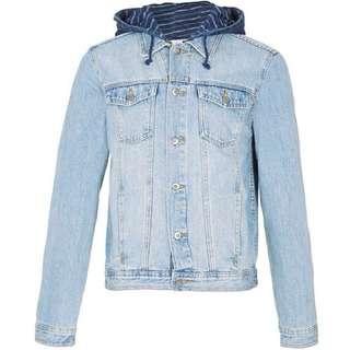 (S) Topman Denim Hooded Jacket Sweater