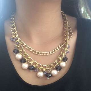 Gold Crystal Pearl Necklace/Bracelet