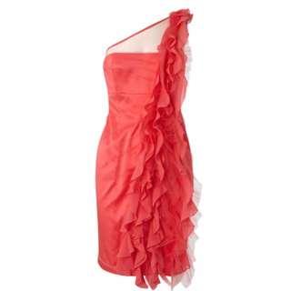 KAREN MILLEN One Shoulder Ruffle Dress UK8