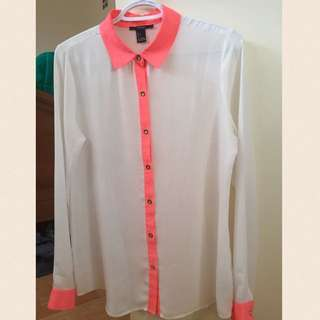 Forever 21 Chiffon Button Up Shirt