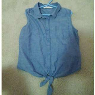Sleeveless shirt (Blue)