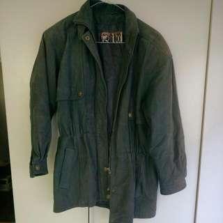 Women's Vintage Green Suede Jacket