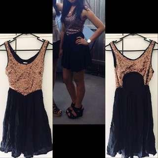 Black & Gold Dress XS