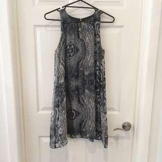 Decjuba Silk Dress Navy And Grey Snake print