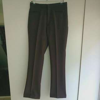 Women's Brown Polyester Pleated Pants