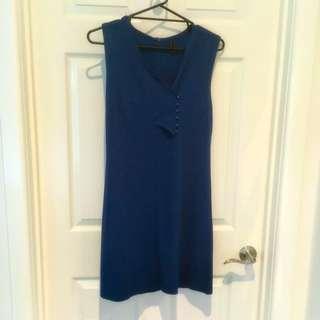 Vera Moda Size 40 Vintage Style Deep Sea Blue Green Dress