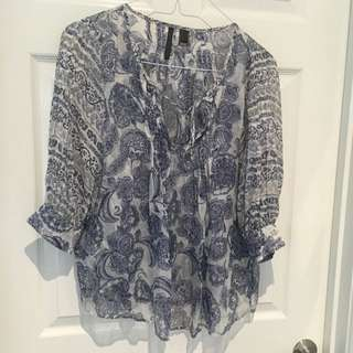 MNG Silk Blouse Size M