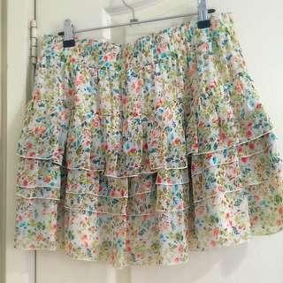 Floral Print Layered Skirt