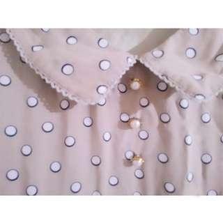日系古著甜美淡粉色點點小洋裝