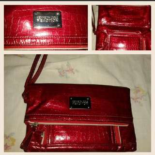 KENNETH COLE REACTION Large 2Folds Purse Wristlet Preloved/Good As New Metallic Red