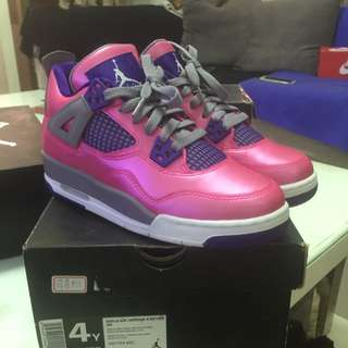 NIKE GIRLS AIR JORDAN 4 RETRO GS 亮粉 4Y 23
