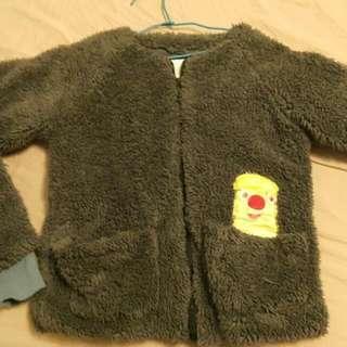 日系毛絨絨 毛茸茸 可愛條文貼布外套