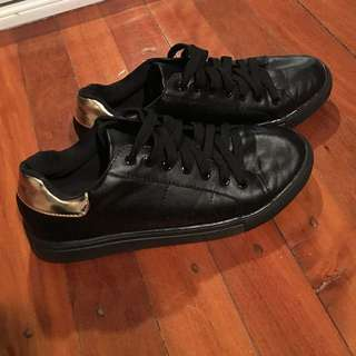 Black Shoes With Gold Rimmed Ankle