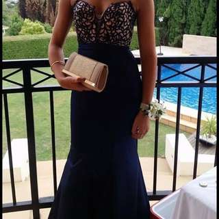 La Femme Navy Mermaid Formal Gown