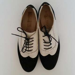 Black And White Leather Brogues