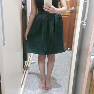 復古風綠格紋及膝裙S號