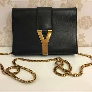 YSL黑色牛皮金鍊logo mini woc