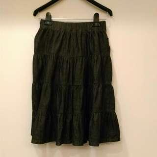 BRAPPERS黑牛仔蛋糕裙 S號(鬆緊腰圍)