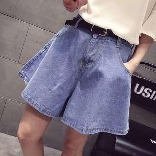 韓版百搭顯瘦寬松磨白薄款牛仔短褲女闊腿褲