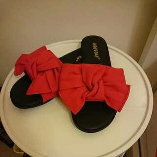 大蝴蝶結可愛拖鞋--made in Korea-大紅色