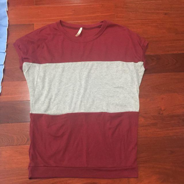 酒紅色條紋上衣