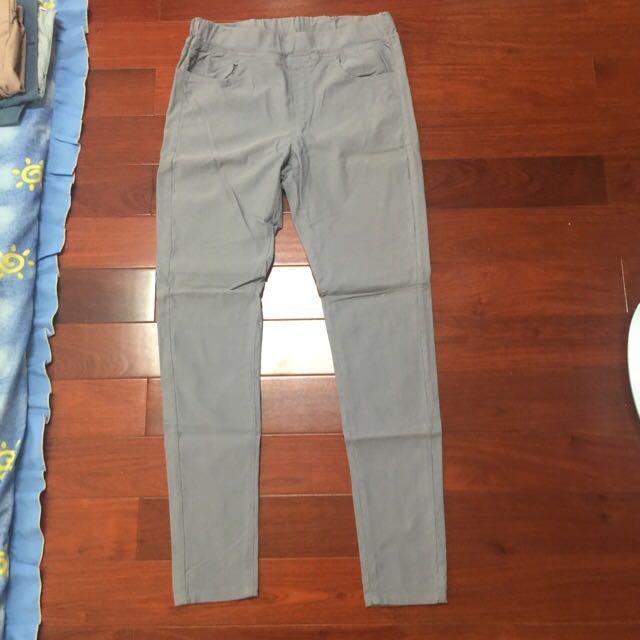 芋紫彈性長褲