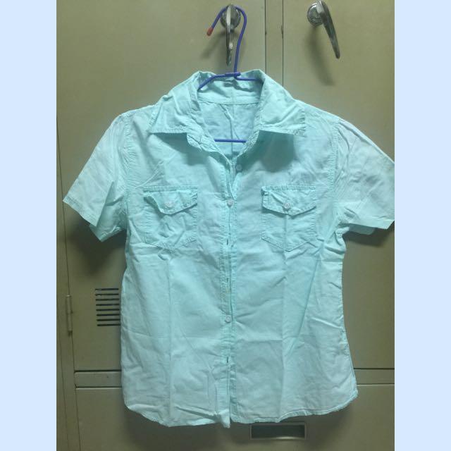 湖水綠短袖襯衫