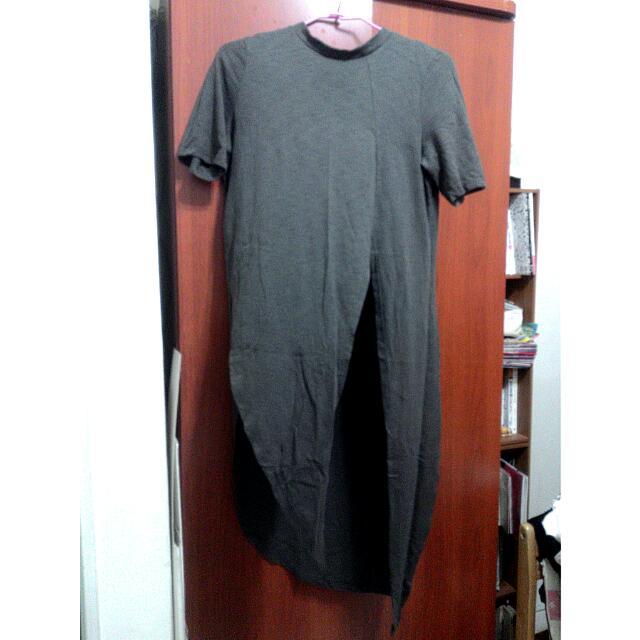 鐵灰個性不規則開叉設計款上衣