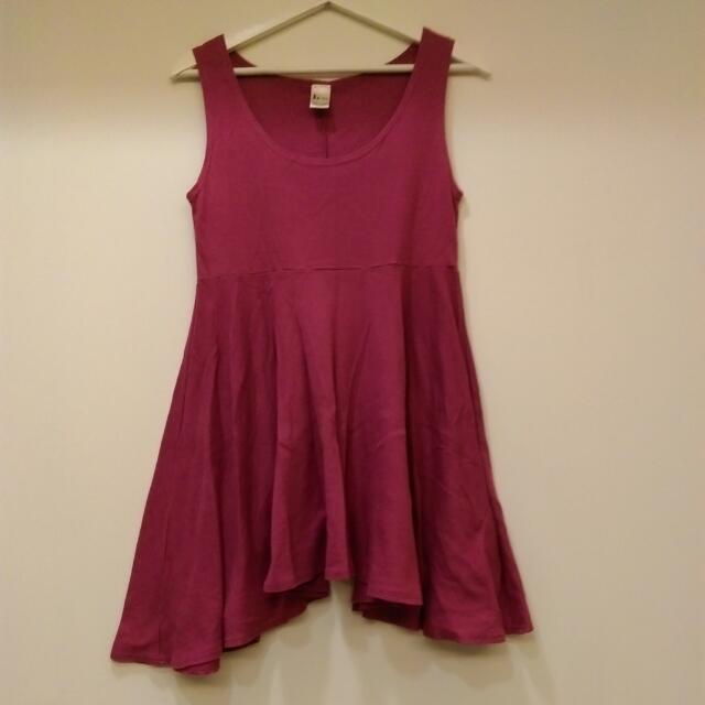 桃紅色韓製無袖傘狀洋裝