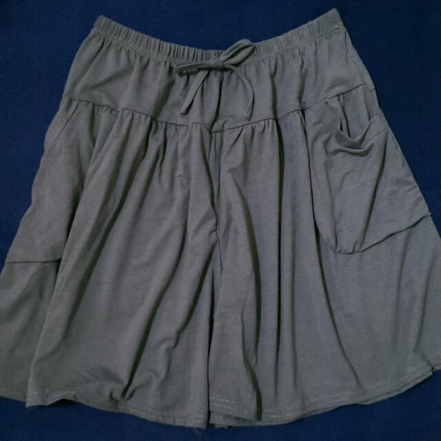 (全新) 超大彈性棉質短褲裙 - 灰(S~2XL皆適穿)