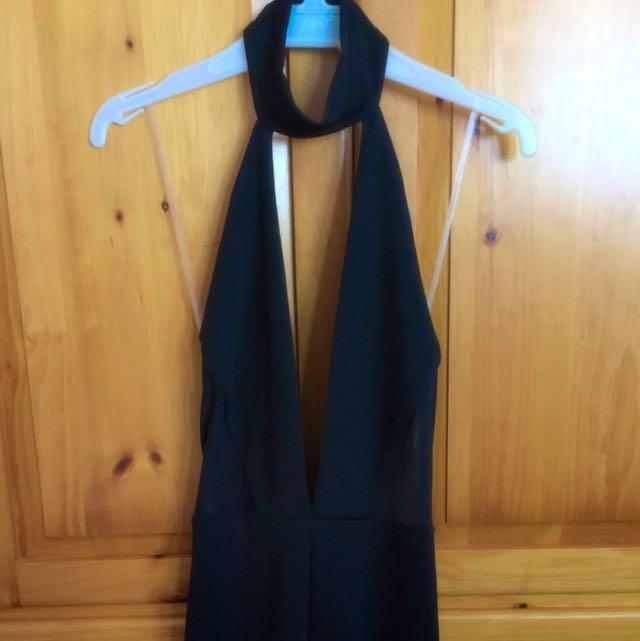 Black Deep V-Neck jumpsuit