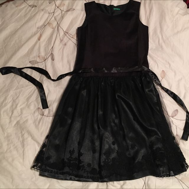 Black Tulle Embroidered Dress