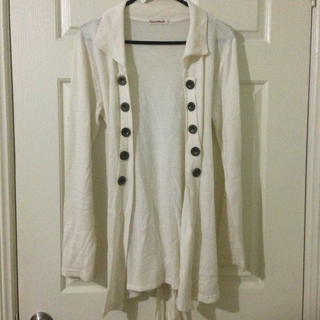 Chicabooti Cream White Knit Cardigan