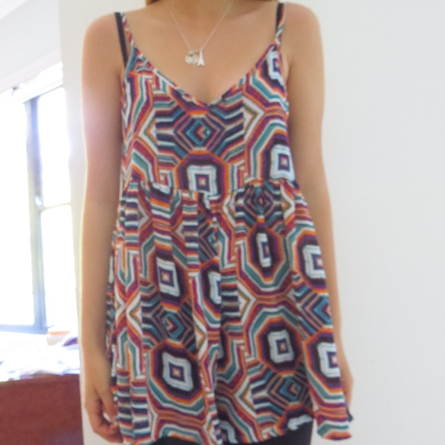 Chiffon colourful geometric playsuit