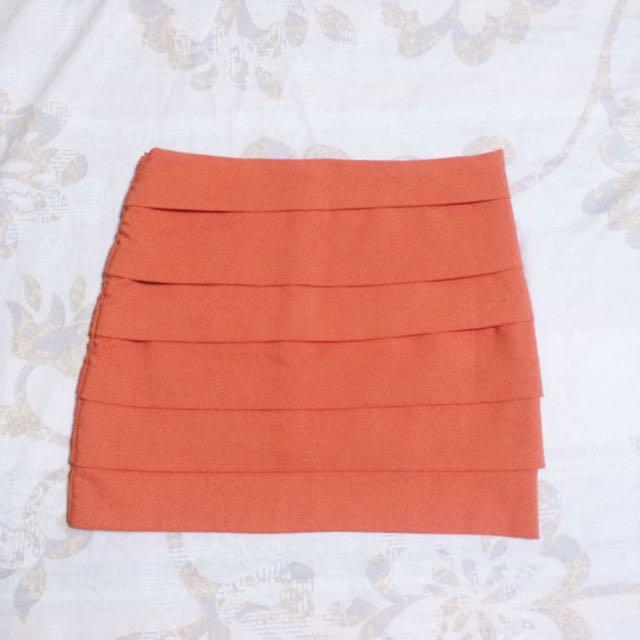 Coral Pink Bandage Skirt